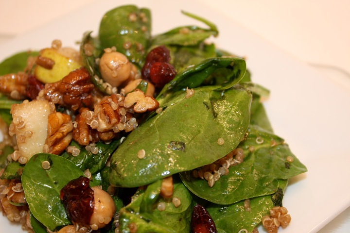 Spinach + Quinoa Salad with Pears, Chickpeas and Pecans