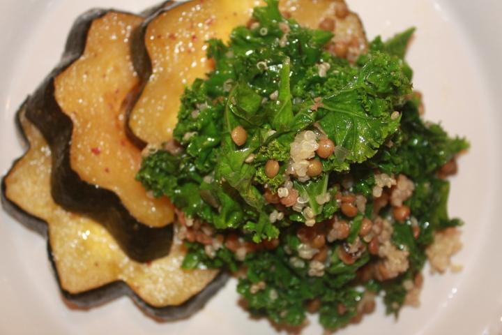 Miso-Glazed Acorn Squash with Kale, Lentils +Quinoa.
