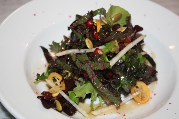 Winter Salad: Purple kale, pomegranate, pears +kumquats