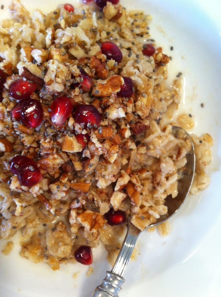 Maca Oatmeal with Maple-Pecans + Pomogranates