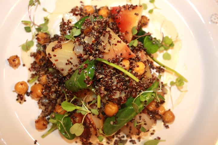 Roasted Beet, Chickpea + Black Quinoa Salad