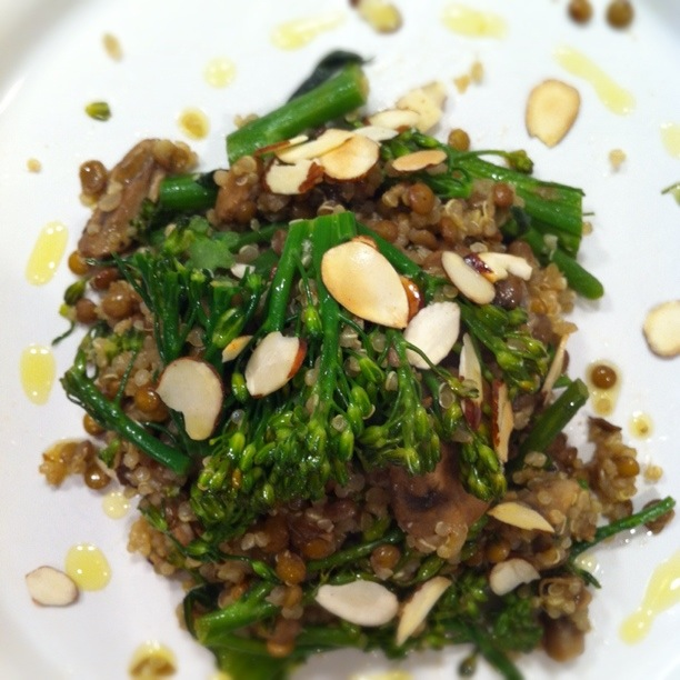 Gingered Broccolini with Sauteed Mushroom, Lentil + Quinoa Medley