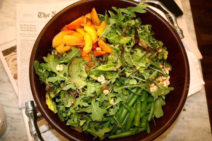Texas Peach + Green Bean Salad w Hazelnuts and TarragonVinaigrette
