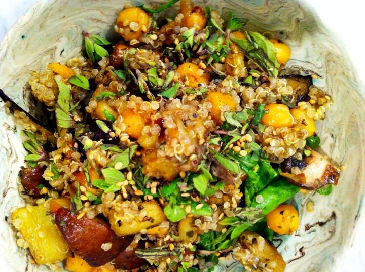 Quinoa & Roasted Chickpeas w Eggplant, Mushrooms +Za'atar